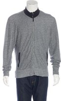 Billy Reid Suede-Trimmed Zip Sweater