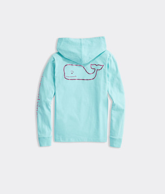Vineyard Vines Girls' Foil Whale Hoodie Long-Sleeve Pocket Tee
