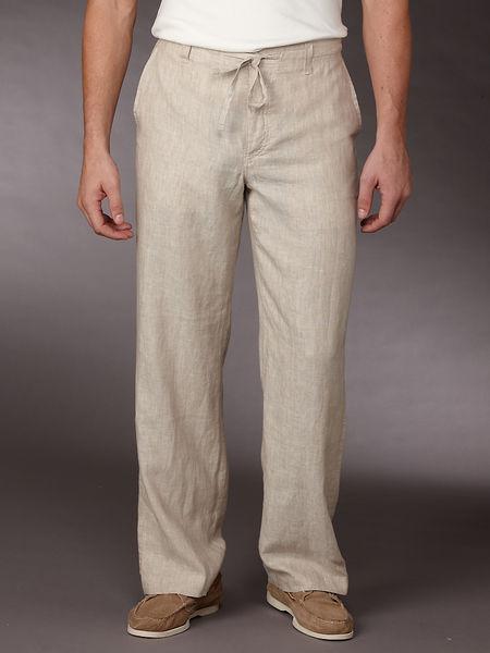 Perry Ellis Cotton Linen Draw Strip Pant