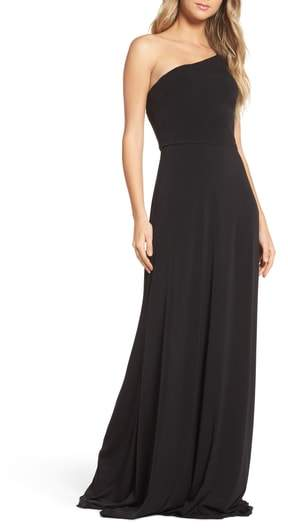 Amsale One-Shoulder Jersey Gown