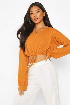 boohoo Oversized Soft Rib Waist Tie Top