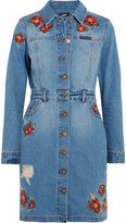 House of Holland + Lee Embroidered Denim Mini Dress - Light denim