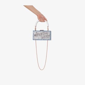 Sophia Webster Blue Cleo Wifey for Lifey PVC clutch bag