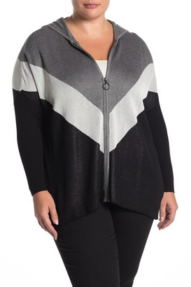 Joseph A Colorblock Print Zip Poncho Sweater (Plus Size)
