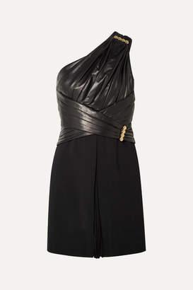 Versace One-shoulder Gathered Leather, Crepe And Chiffon Mini Dress - Black