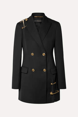 Versace Double-breasted Deconstructed Embellished Tulle-trimmed Wool Blazer - Black