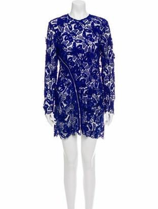 Self-Portrait Lace Pattern Mini Dress Blue