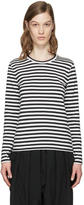 Comme des Garcons White and Black Striped T-Shirt