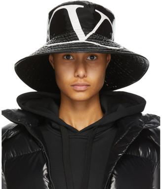 Valentino Black Garavani Shiny VLogo Bucket Hat