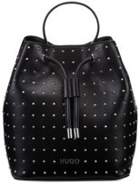 HUGO BOSS - Faux Leather Bucket Bag With Stud Detailing - Black