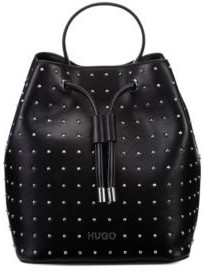 HUGO BOSS Faux Leather Bucket Bag With Stud Detailing - Black