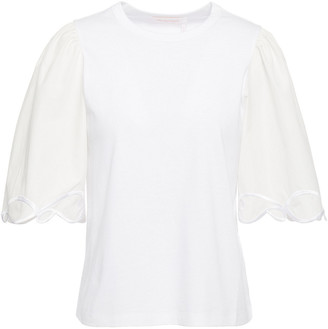 See by Chloe Embroidered Cotton-poplin And Jersey T-shirt