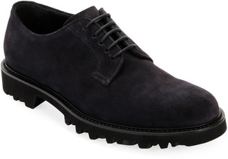 Giorgio Armani Men's Lugged-Sole Suede Derby Shoe