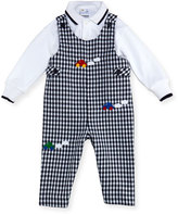 Florence Eiseman Checkered Twill Overalls w/ Knit Polo, Size 6-18 Months