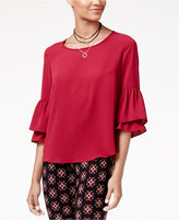 Amy Byer Juniors' Ruffled Bell-Sleeve Necklace Top