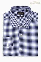 Mens Next Navy Regular Fit Single Cuff Signature Gingham Shirt - Blue