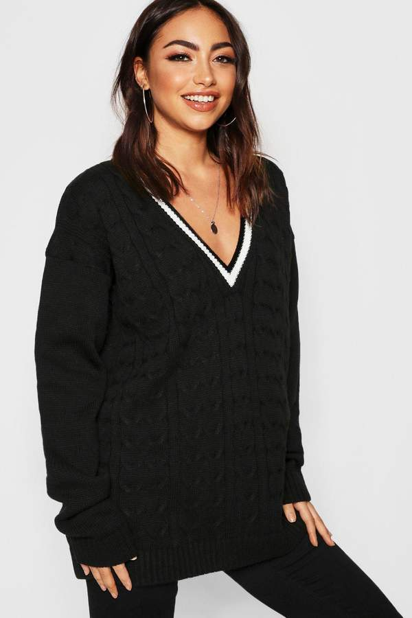 V Neck Cable Knit Long Line Sweater