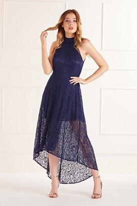 Yumi High Neck High Low Lace Maxi Dress