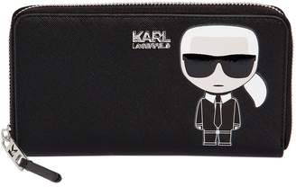 Karl Lagerfeld Paris K/IKONIK ZIP AROUND FAUX LEATHER WALLET