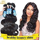 "KBL 100% Unprocessed Brazilian Body Wave Hair Extensions 3 Bundles 300G Virgin Remy Human Hair #1B (12"" 14"" 16"")"