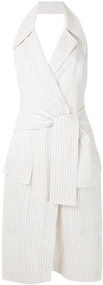 Tufi Duek Pinstripe Wrap Dress