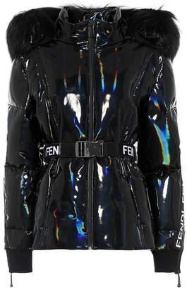 Fendi Holographic fur-trimmed down jacket