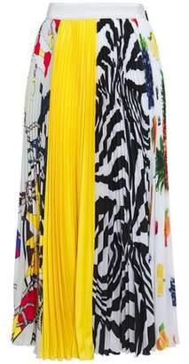 MSGM Grosgrain-trimmed Pleated Printed Crepe De Chine Midi Skirt