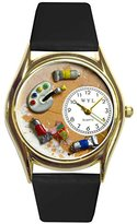 Whimsical Watches Women's C0410001 Classic Gold Artist Black Leather And Goldtone Watch