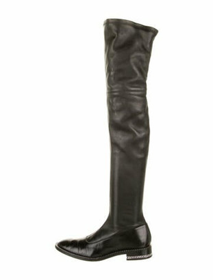 Givenchy Leather Chain-Link Accents Boots Black
