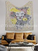 Trade Star Exports Large Lion Tapestry Wall Hanging, Hippie Dorm Decor, Bohemian Tapestries, Indian Cotton Bedspread, Psychedelic Wall Art, Throw Decorative Blanket