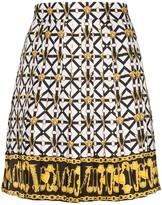 Versace Medusa printed pleated mini skirt
