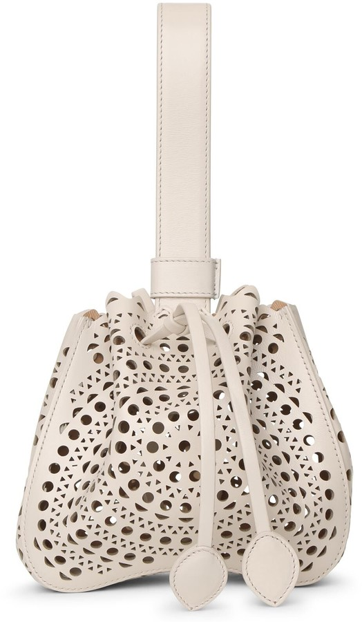 Alaia Rose Marie Mini cream bracelet bag