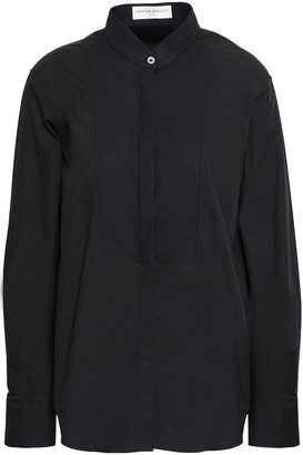 Amanda Wakeley Paneled Cotton-poplin And Pique Shirt