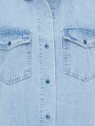 Missguided Boyfriend Fit Oversized Denim Shirt - Light Blue