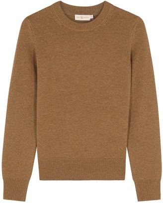 Tory Burch Brown Paillette-embellished Cashmere Jumper