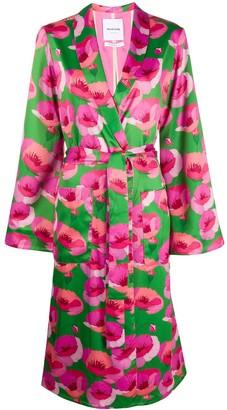 Black Coral Floral Belted Coat