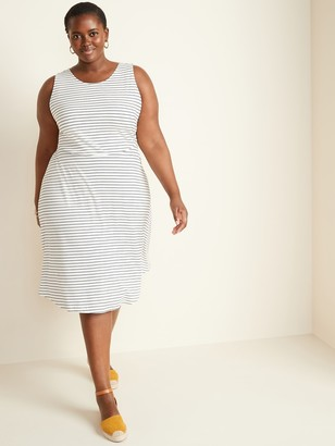 Old Navy Striped Rib-Knit Waist-Defined Plus-Size Dress