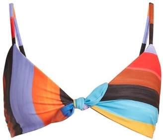 Mara Hoffman Carla Knot-detail Striped Bikini Top - Womens - Black Multi