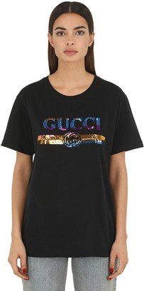 Gucci Sequined Logo Cotton Jersey T-shirt
