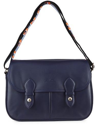Longchamp Stripe-Strap Leather Messenger Bag