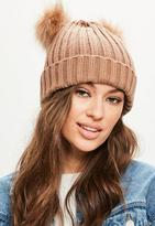Missguided Brown Beanie With Double Pom Pom, Brown