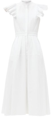 Alexander McQueen Ruffled Cotton-pique Midi Dress - White