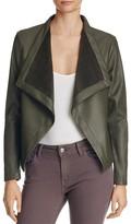 BB Dakota Peppin Draped Faux Leather Jacket