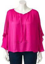 JLO by Jennifer Lopez Plus Size Bell Sleeve Peasant Top