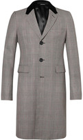 Alexander Mcqueen - Velvet-trimmed Prince Of Wales Checked Wool Coat