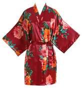 luxury smart Peony Floral Silk Kimono Robe Bridal Bridesmaid