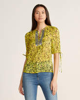 Gaudi' Gaudi Floral Print Sequin Neck Short Sleeve Top