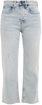 Rag & Bone Maya Cropped Distressed High-rise Straight-leg Jeans