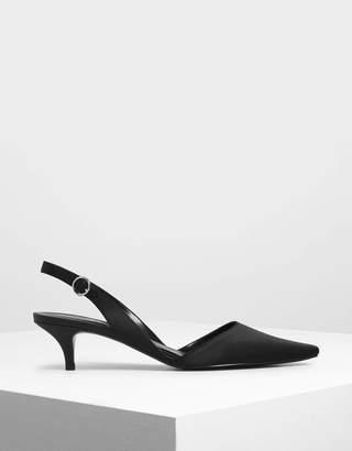 Charles & Keith Satin Closed Toe Slingback Heels