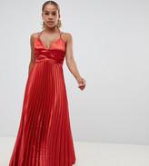 Asos DESIGN Petite pleated satin ruffle waist maxi dress
